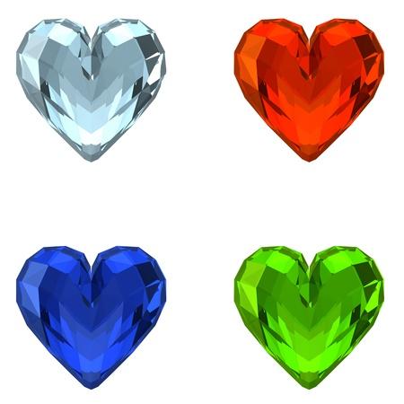 sapphire: 3D Crystal Hearts Stock Photo