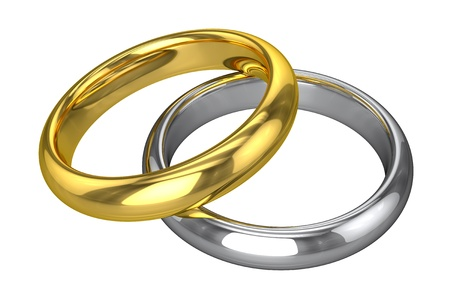 alliances: Realistic Wedding Rings - Yellow And White Gold