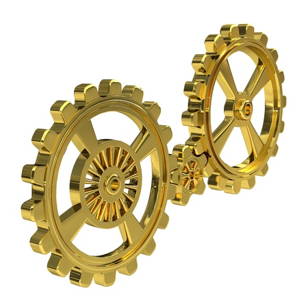 Realistic Cogwheels - Gold photo
