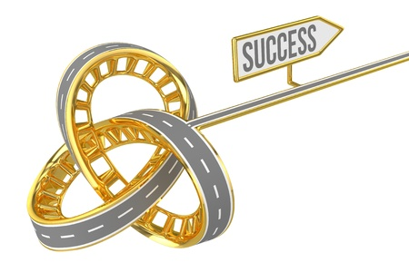 fork in the road: Different Way With SUCCESS Sign Stock Photo