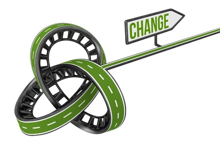 different way: Different Way With CHANGE Sign Stock Photo