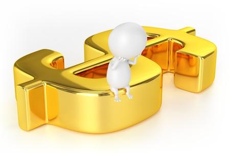 黄金のドル記号と文字 写真素材