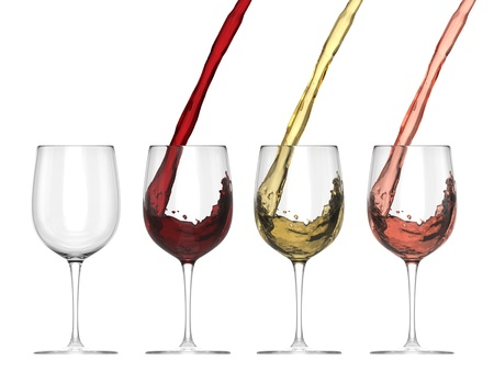 Wine Pouring Into Glass - Set - Isolated