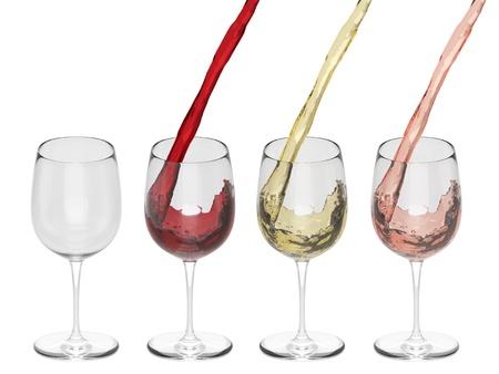 와인 유리에 붓는 - 세트