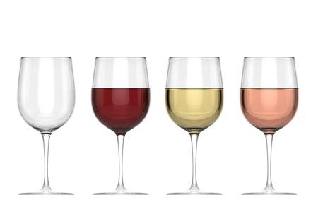 와인: 와인의 안경 - 설정 - 고립 스톡 사진
