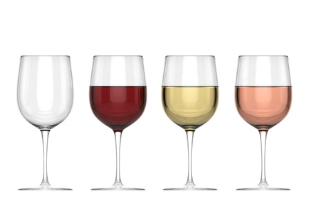 spirituous beverages: Glasses of Wine - Set - Isolated