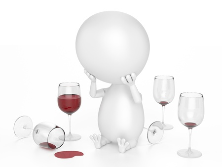 too much: Alcoholic Character  With Red Wine Glasses