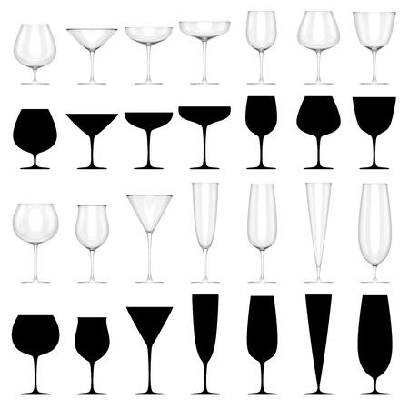 알콜 음료를위한 안경 세트 - 절연 스톡 콘텐츠
