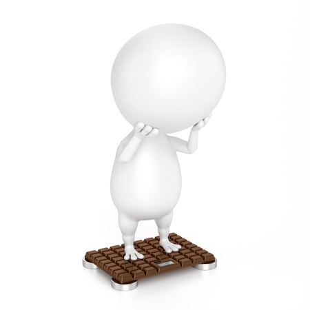 bathroom weight scale: Character And Bathroom Scale  Chocolate Design  Stock Photo