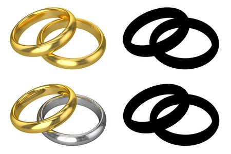 silver ring: Realistic Wedding Rings - ISOLATED