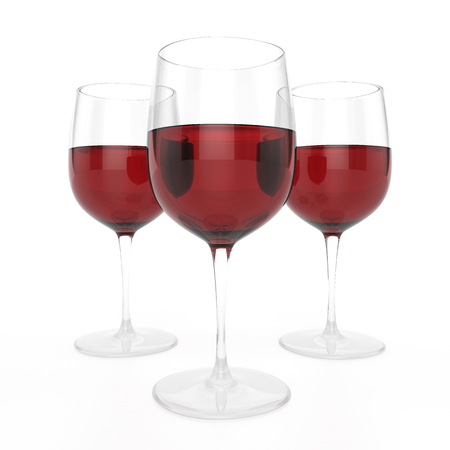 spirituous: 3 Glasses Of Red Wine Stock Photo