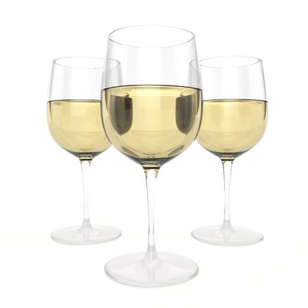 muscadet: 3 Glasses Of White Wine Stock Photo