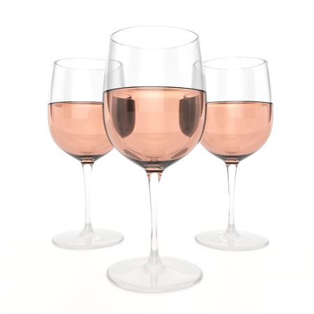 yellow roses: 3 Glasses Of Rose Wine Stock Photo