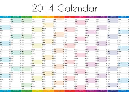 2014 カレンダー - EN