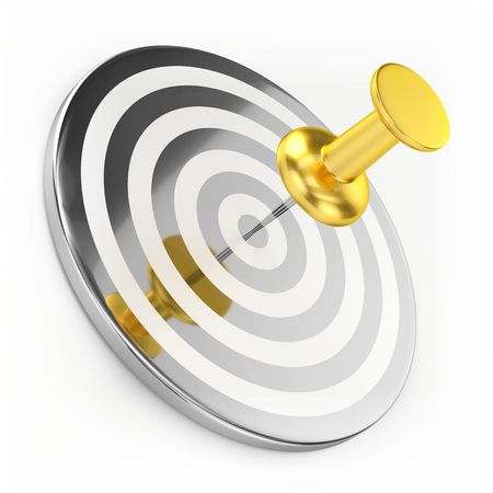 thumbtack: Golden Thumbtack On Target