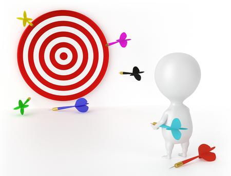 Target, Darts and Character - Loser Standard-Bild
