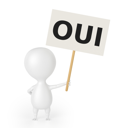 Character With Placard  OUI  photo