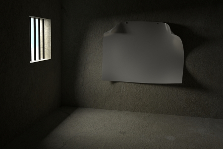 detained: Prison with Blank Poster Stock Photo