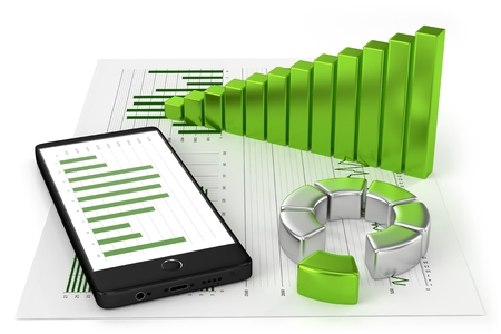 Charts and Smartphone Standard-Bild