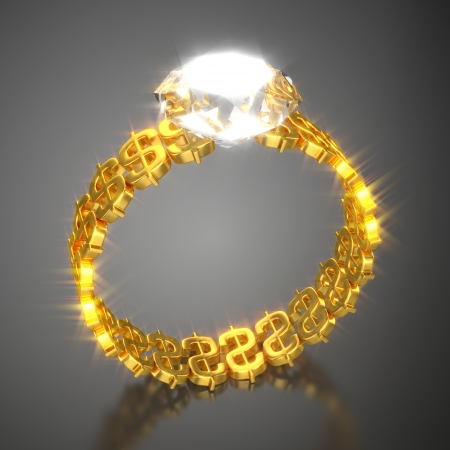 Gold Ring  Dollars and Diamond  photo