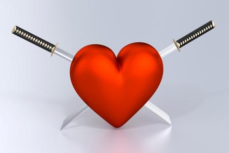 Heartbreak - Heart and Two Crossed Katanas