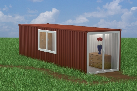 modular home: Container Converted into Home Stock Photo