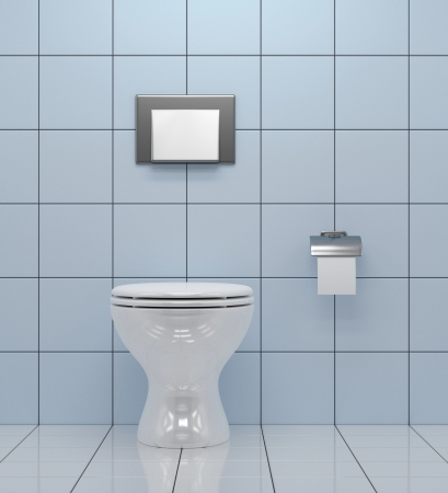toilet bowl: WC - White Toilet Bowl In A Bathroom