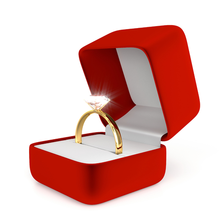 jewel case: Gold Ring with Red Box