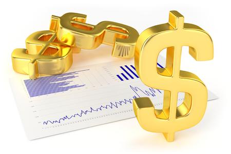 金のドル記号とグラフ 写真素材