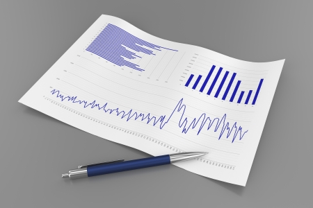 financial figures: Sheet with Charts and Pen Stock Photo