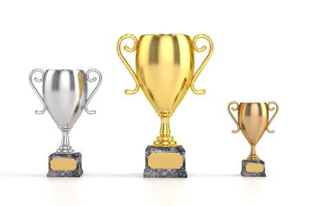 Gold, Silver and Bronze Cups Stock Photo - 24873398