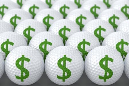 緑のドル記号のゴルフ ・ ボール 写真素材