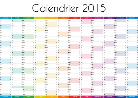 calendrier: Calendrier 2015 - VERSION FRANCAISE