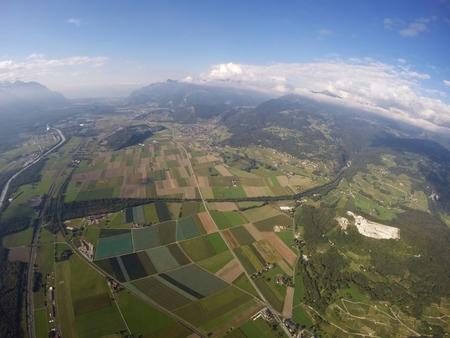 skydive: Aerial View  Valais, Vaud Stock Photo