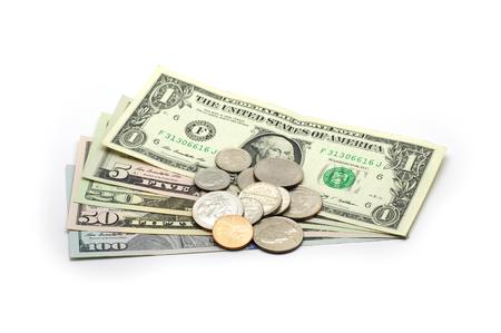 cash: Dólares Boletos y monedas - aislado Foto de archivo