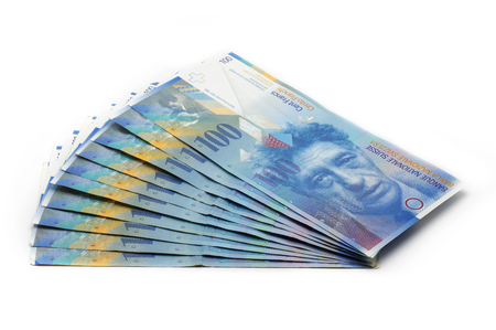 10 x 100 CHF チケット - 1000年スイスフラン - 分離 写真素材