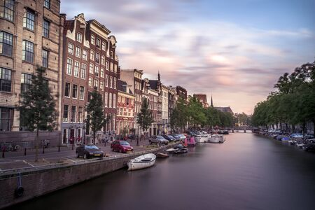 View of a canal in Amsterdam during sunset Stockfoto