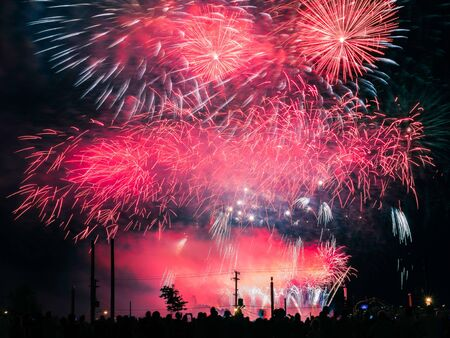 Fireworks during a national event, celebration, holiday, in square format.