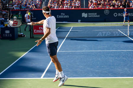 Montreal, Canada - Aujgust 5th, 2017: Roger Federer practicing in the central court during the Rogers Cup.