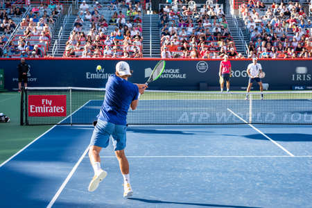 Montreal, Canada - Aujgust 5th, 2017: Lucas Pouille practicing in the central court during the Rogers Cup. 新闻类图片