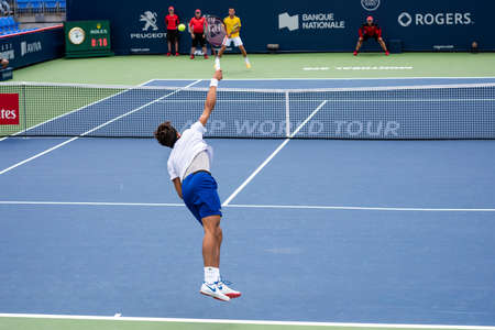 Montreal, Canada - Aujgust 5th, 2017: Pierre-Hugues Herbert practicing in the national bank during the Rogers Cup.