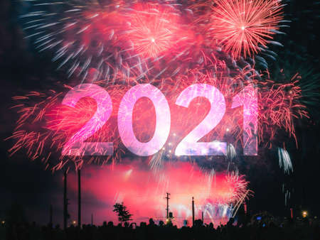 Happy new year 2021 card on a red fireworks background