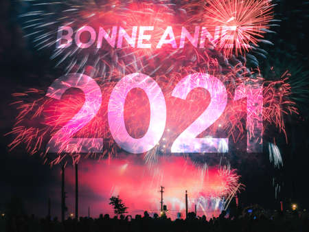 Bonne annee 2021 card on a red fireworks background