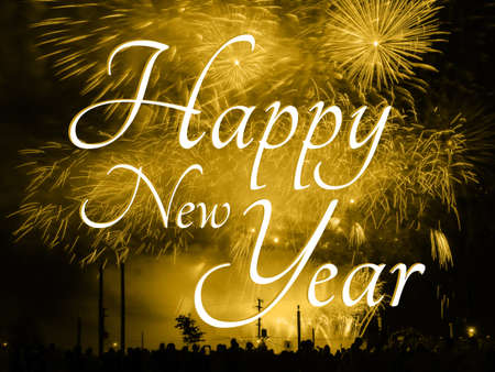 Happy new year card on a golden fireworks background
