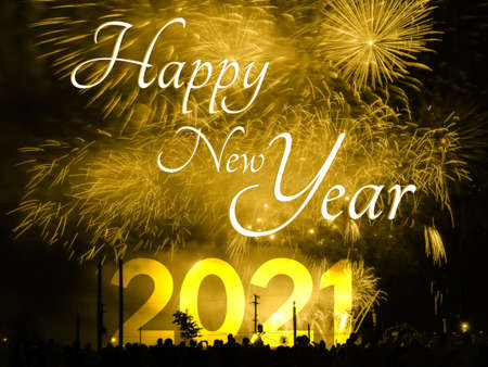 Happy new year 2021 card on a golden fireworks background