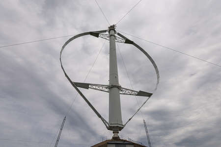 Close-up of a vertical axis wind turbine 免版税图像