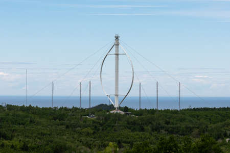 Isolated view of a vertical axis wind turbine