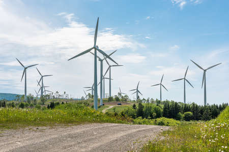 Large view of a wind turbines farm