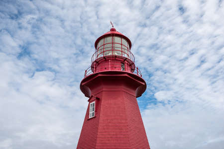 Close-up of the top of La Martre red lighthouse in Gaspesie