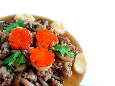 beancurd: Stir fired  egg curd with mushroom Stock Photo